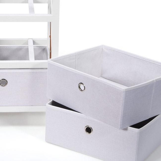 15-Schubladenkommode-Kommode-3-Schubladen-Schrank-Faltbar-Regal-Sideboard-Möbel-Neu-weiß