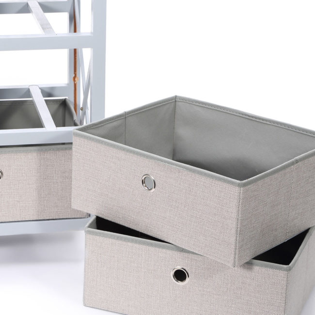 16-Schubladenkommode-Kommode-3-Schubladen-Schrank-Faltbar-Regal-Sideboard-Möbel-Neu-grau